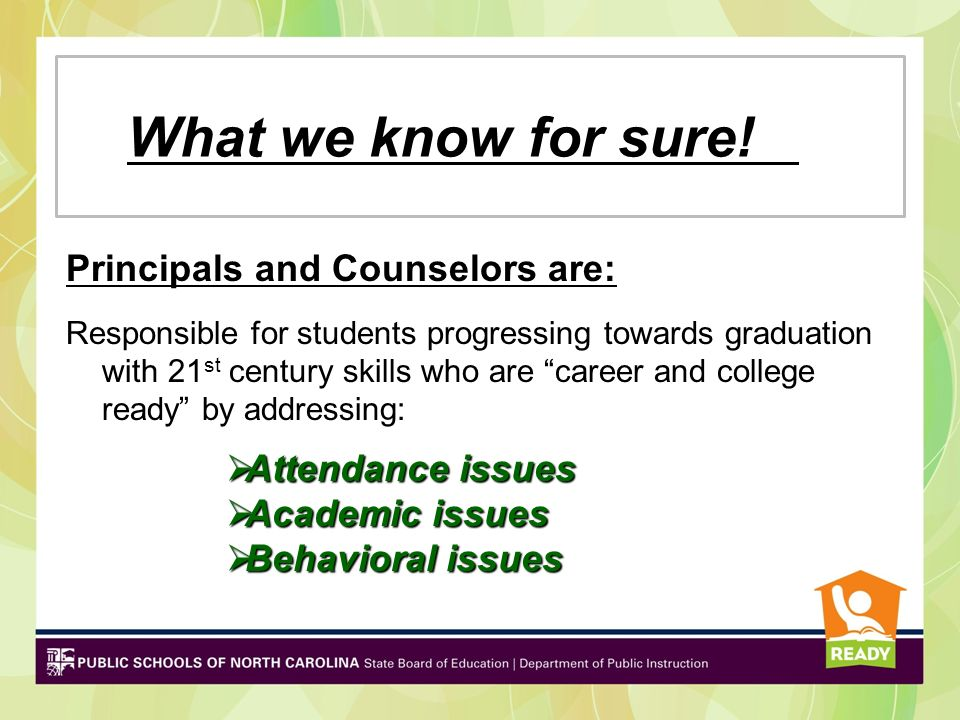 What we know for sure! Principals and Counselors are: