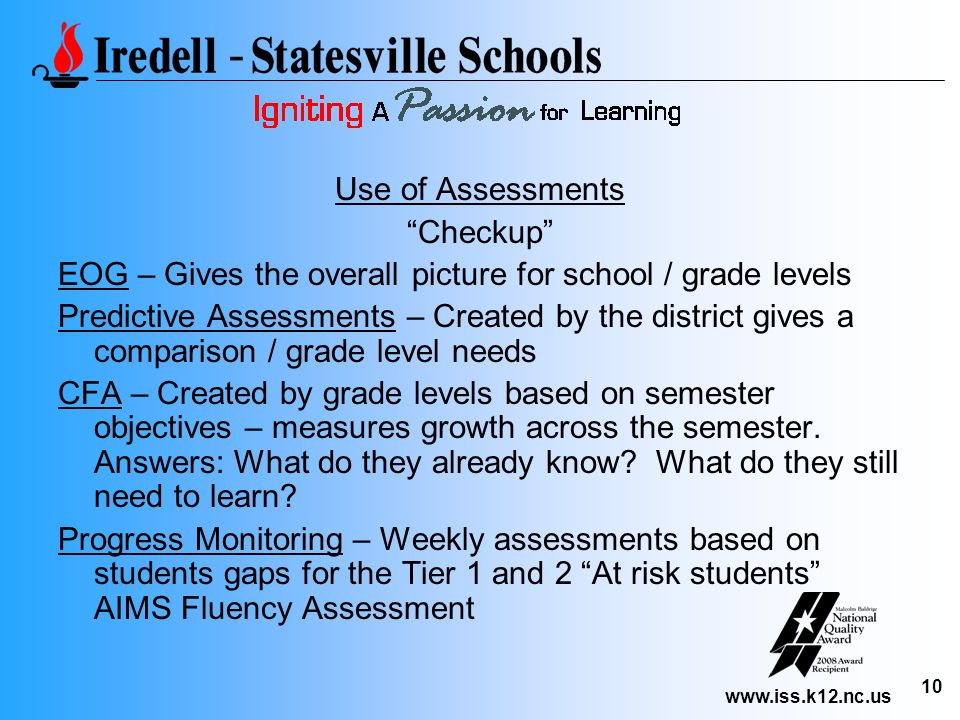 Use of Assessments Checkup EOG – Gives the overall picture for school / grade levels.