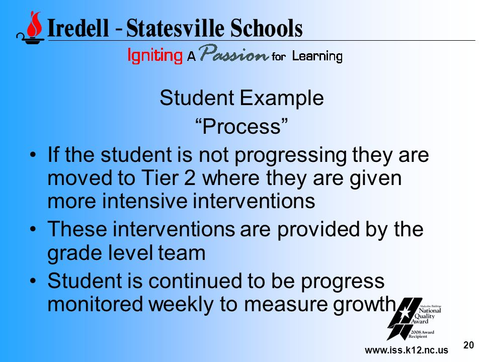Student Example Process If the student is not progressing they are moved to Tier 2 where they are given more intensive interventions.