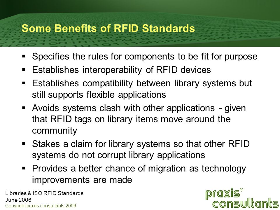Some Benefits of RFID Standards