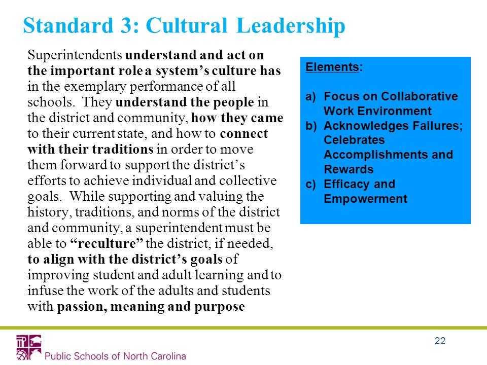 Standard 3: Cultural Leadership