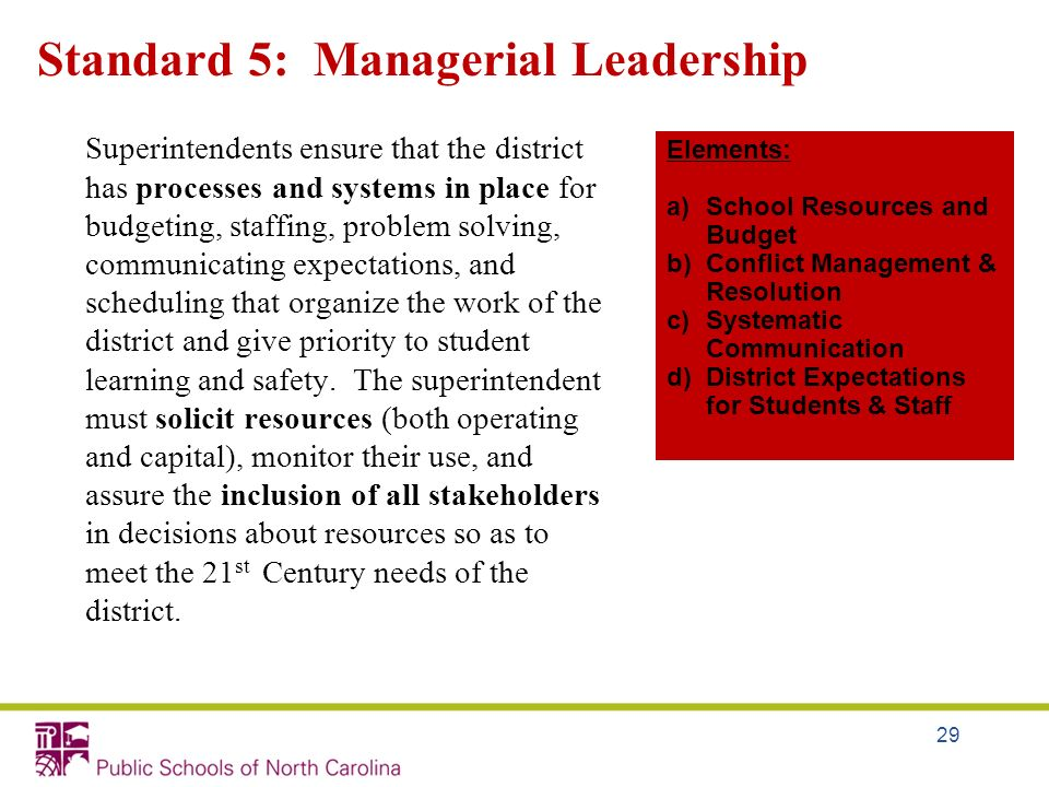 Standard 5: Managerial Leadership
