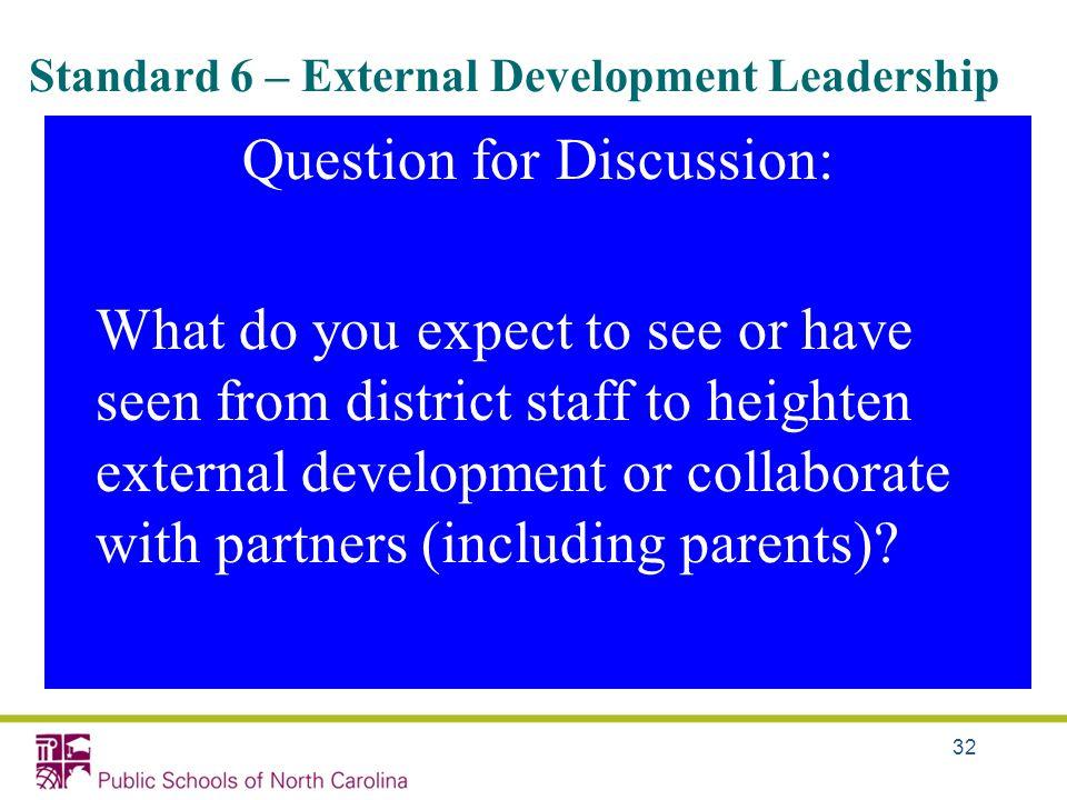 Standard 6 – External Development Leadership