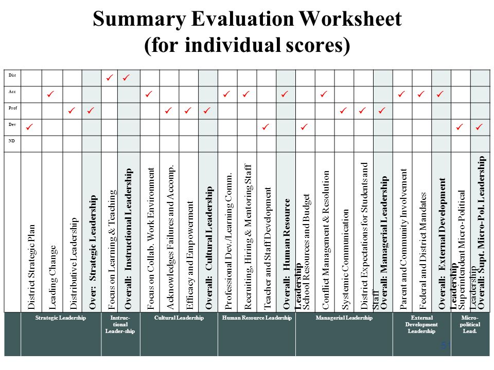 Summary Evaluation Worksheet (for individual scores)