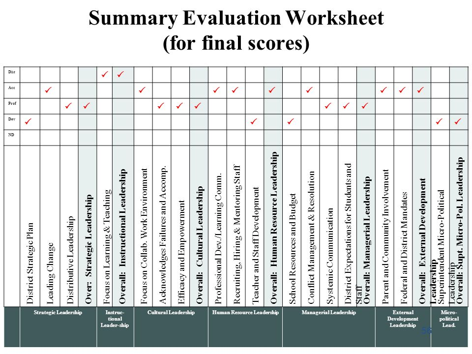 Summary Evaluation Worksheet (for final scores)
