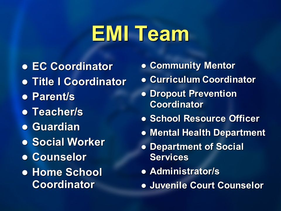 EMI Team EC Coordinator Title I Coordinator Parent/s Teacher/s