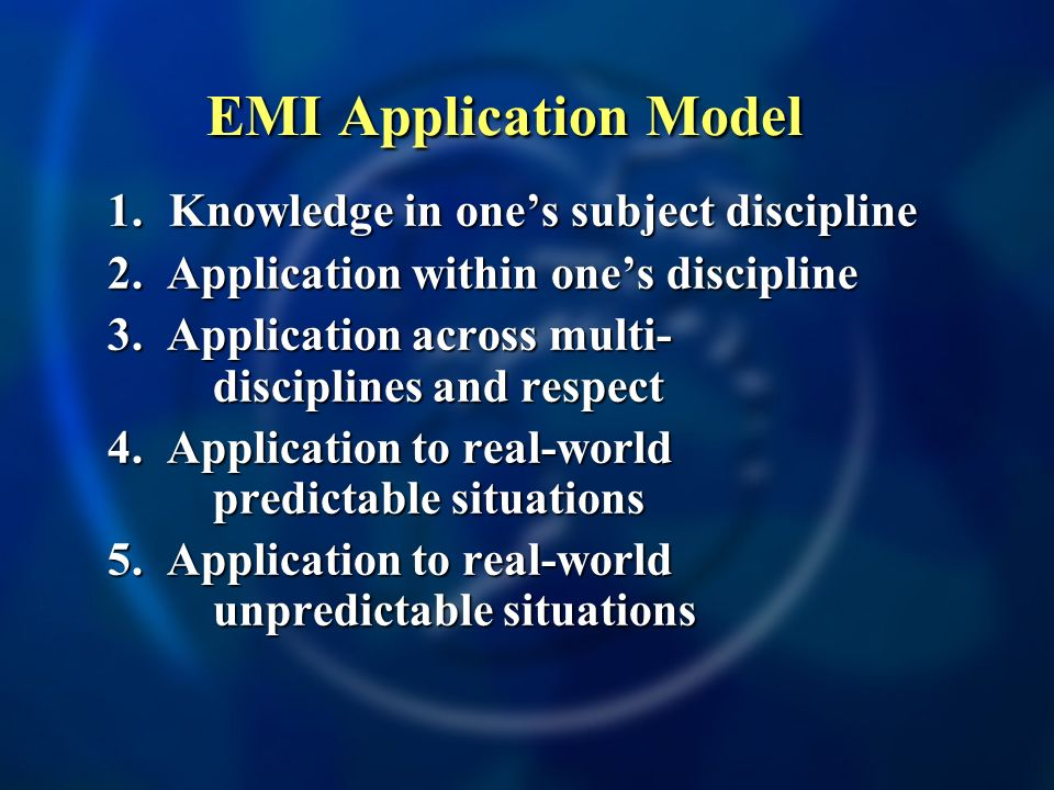 EMI Application Model 1. Knowledge in one's subject discipline