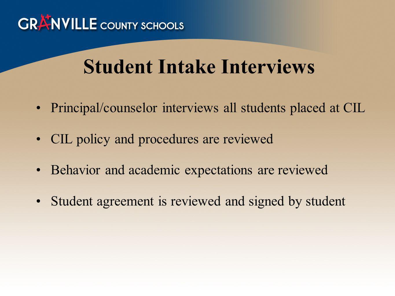 Student Intake Interviews
