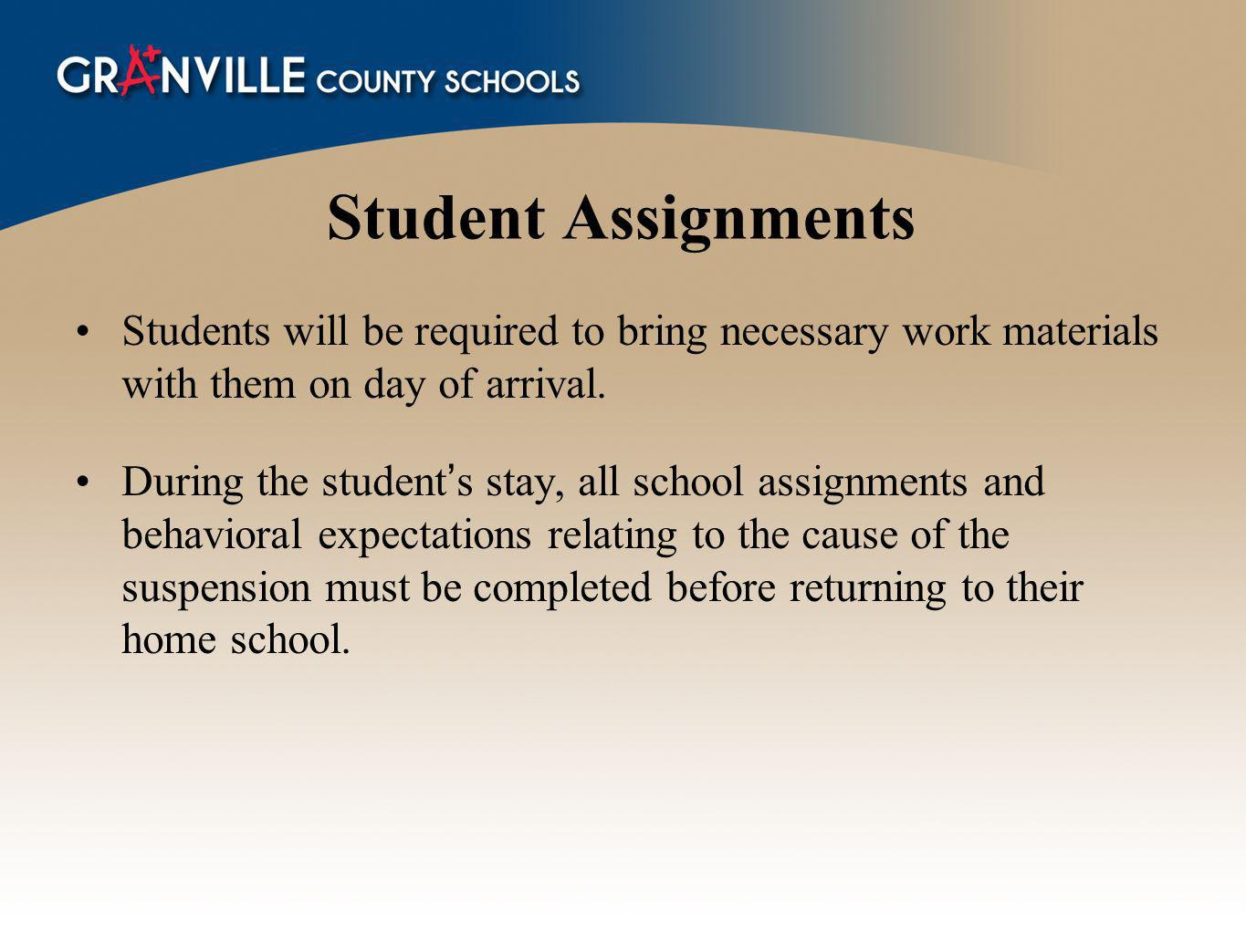 Student Assignments Students will be required to bring necessary work materials with them on day of arrival.