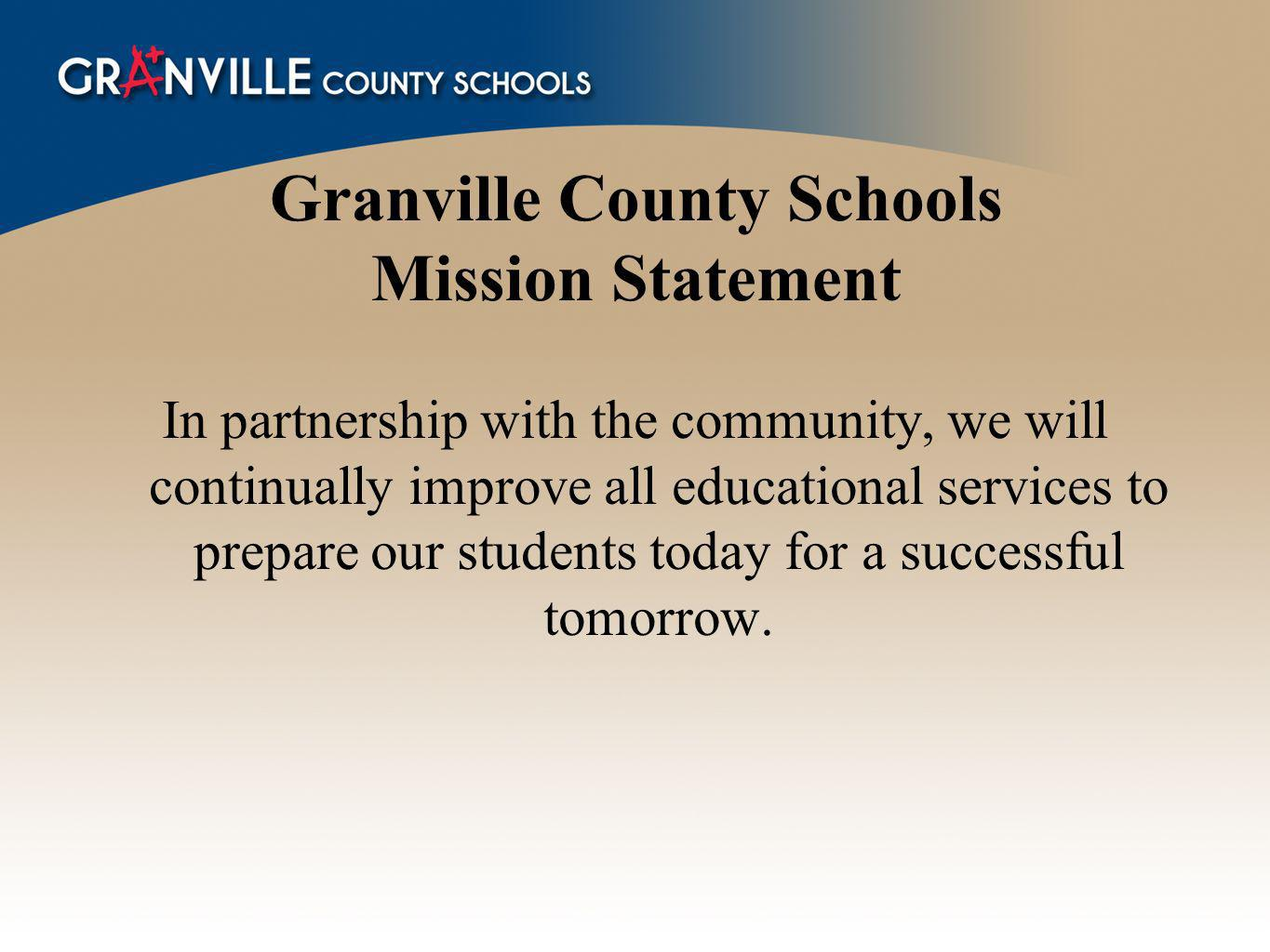 Granville County Schools Mission Statement