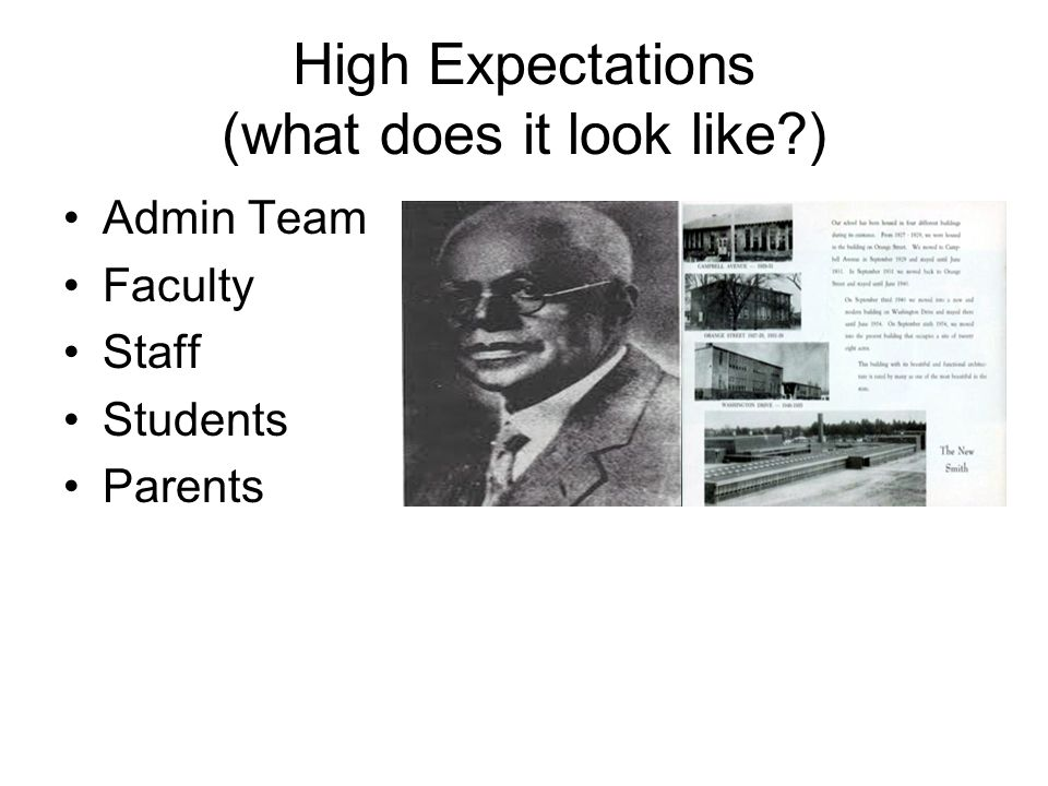 High Expectations (what does it look like )