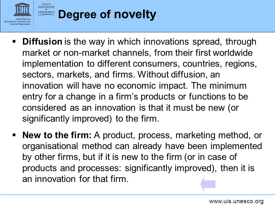 Degree of novelty