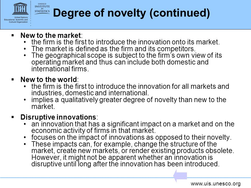 Degree of novelty (continued)