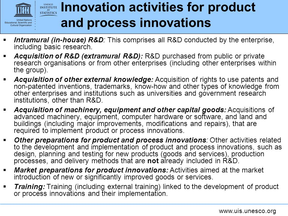 Innovation activities for product and process innovations