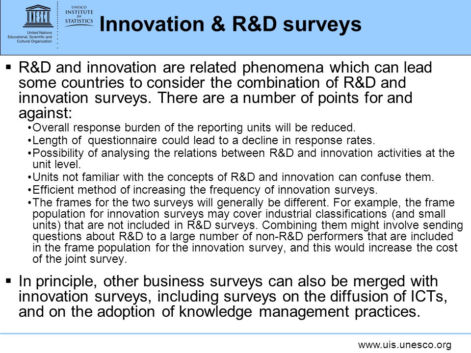 Innovation & R&D surveys