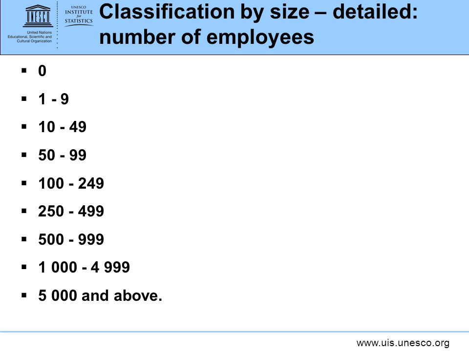 Classification by size – detailed: number of employees