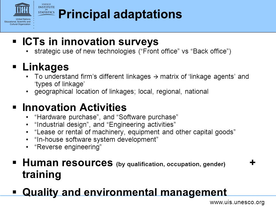 Principal adaptations