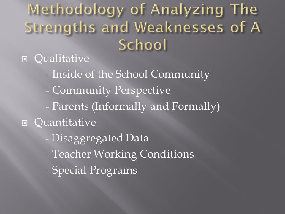Methodology of Analyzing The Strengths and Weaknesses of A School
