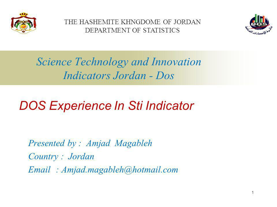 Science Technology and Innovation Indicators Jordan - Dos