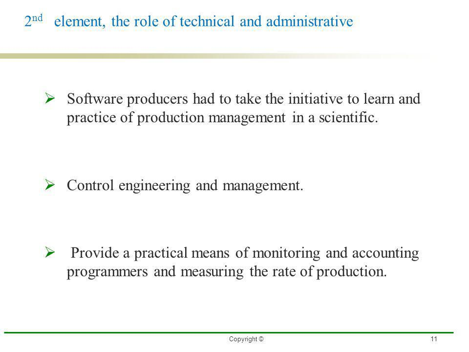 2nd element, the role of technical and administrative