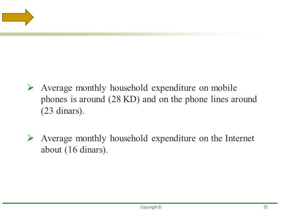 3/27/2017 Average monthly household expenditure on mobile phones is around (28 KD) and on the phone lines around (23 dinars).