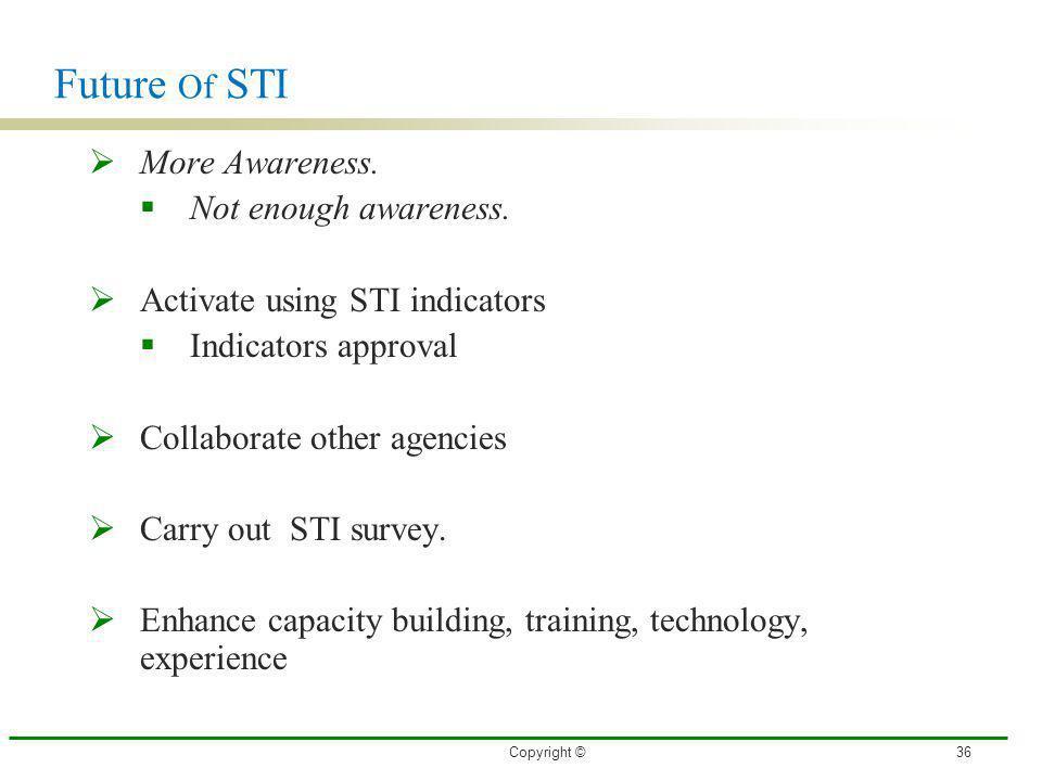 Future Of STI More Awareness. Not enough awareness.