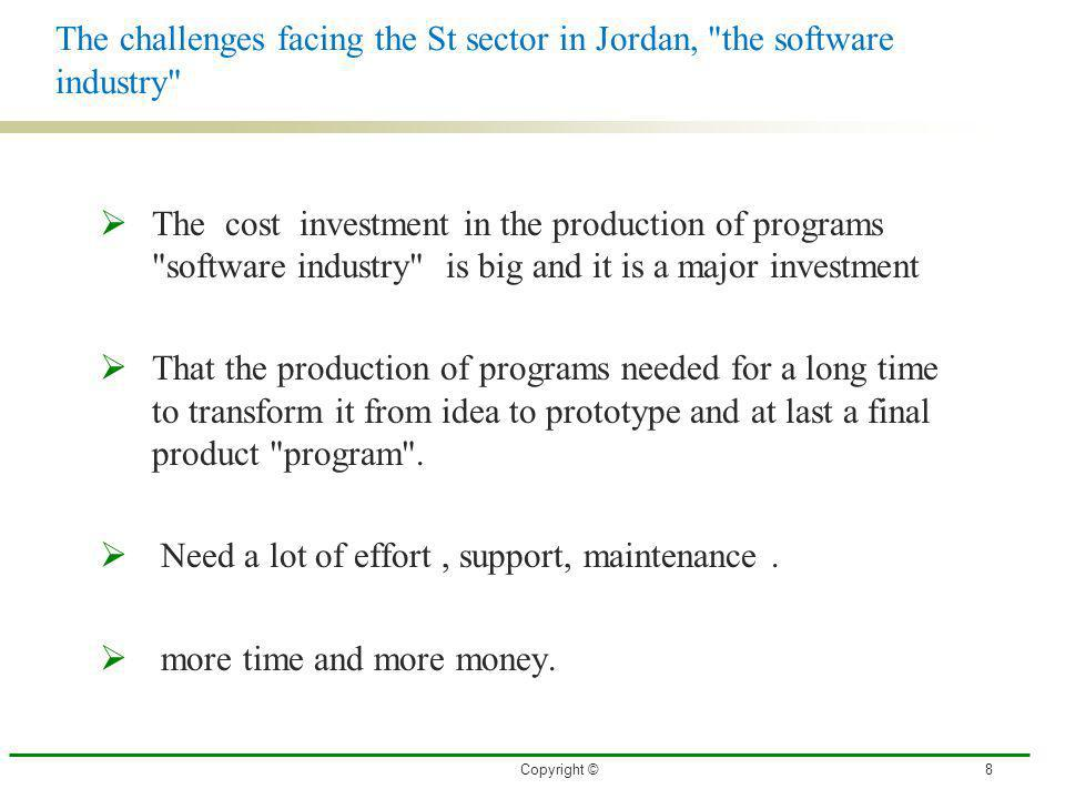 The challenges facing the St sector in Jordan, the software industry