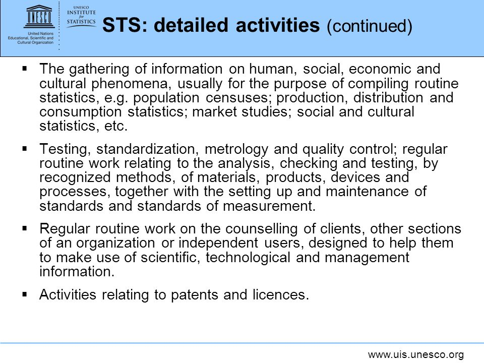 STS: detailed activities (continued)