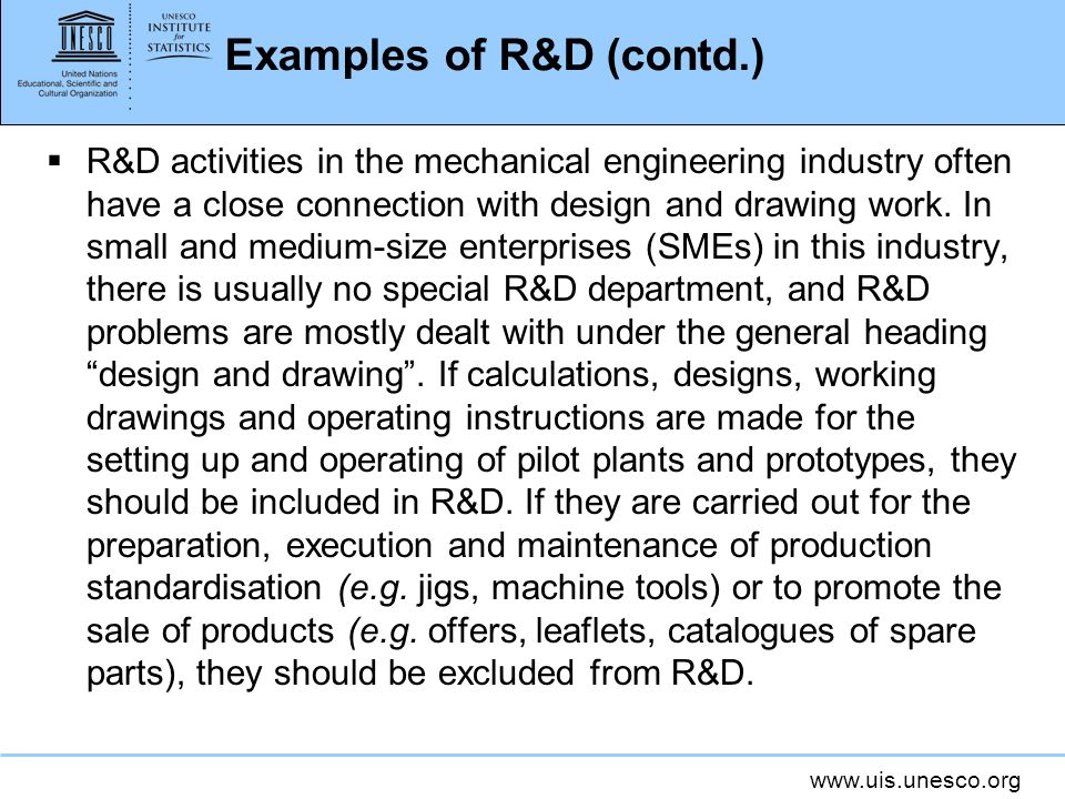 Examples of R&D (contd.)