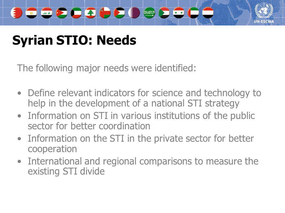 Syrian STIO: Needs The following major needs were identified:
