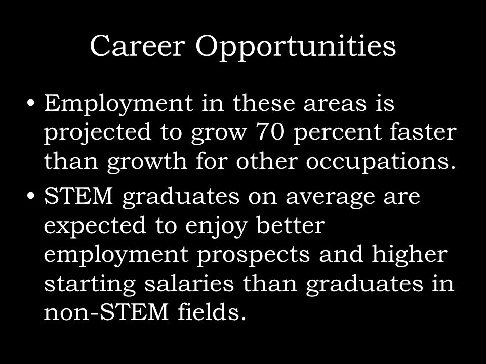 Career OpportunitiesEmployment in these areas is projected to grow 70 percent faster than growth for other occupations.