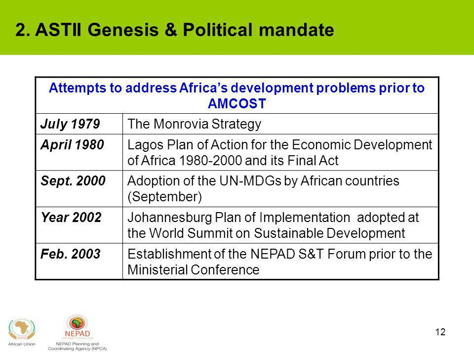 Attempts to address Africa's development problems prior to AMCOST