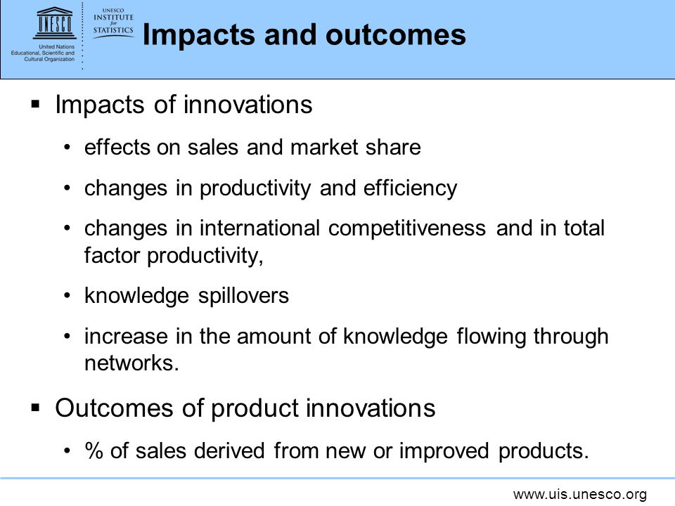Impacts and outcomes Impacts of innovations