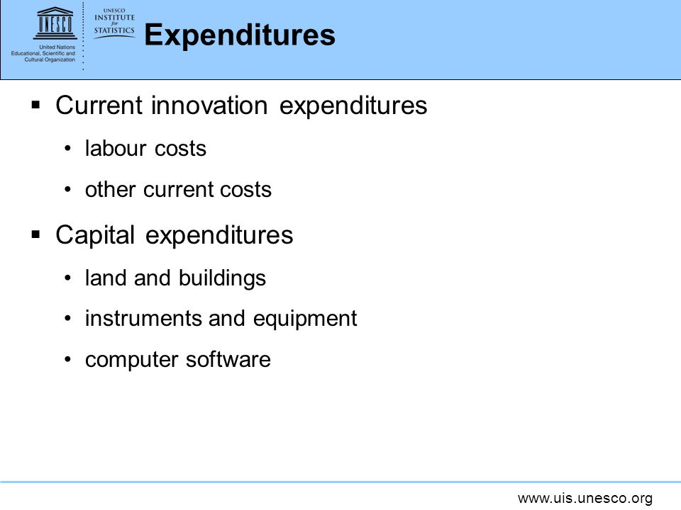 Expenditures Current innovation expenditures Capital expenditures