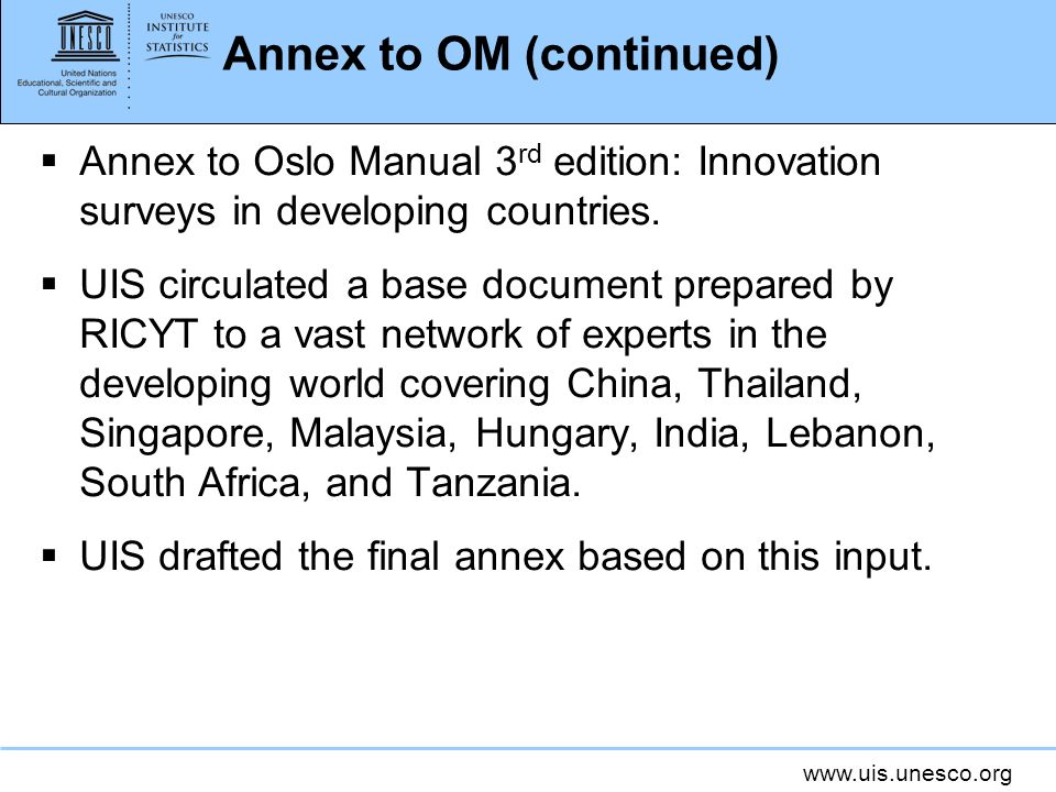Annex to OM (continued)