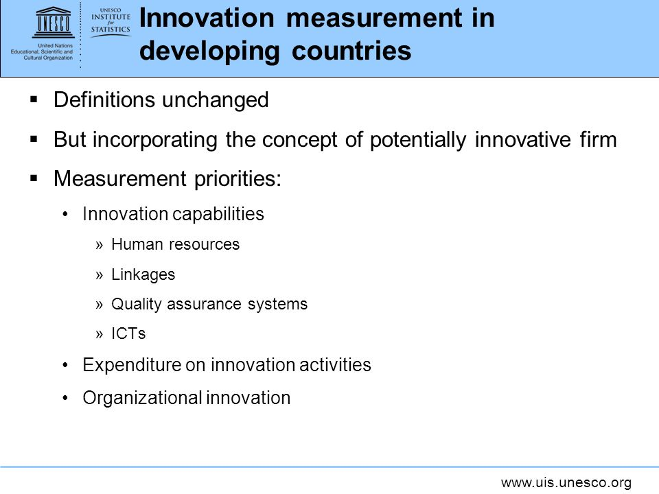 Innovation measurement in developing countries