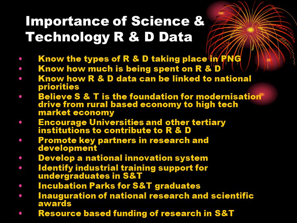 Importance of Science & Technology R & D Data