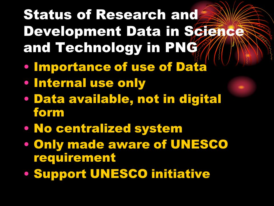 Status of Research and Development Data in Science and Technology in PNG