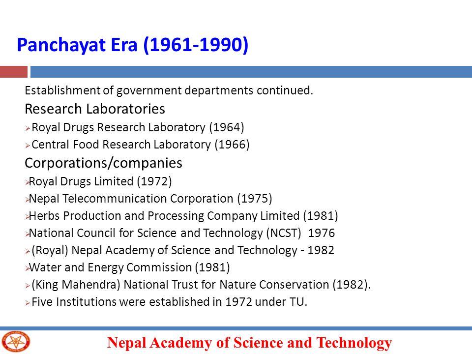 Panchayat Era (1961-1990) Research Laboratories Corporations/companies