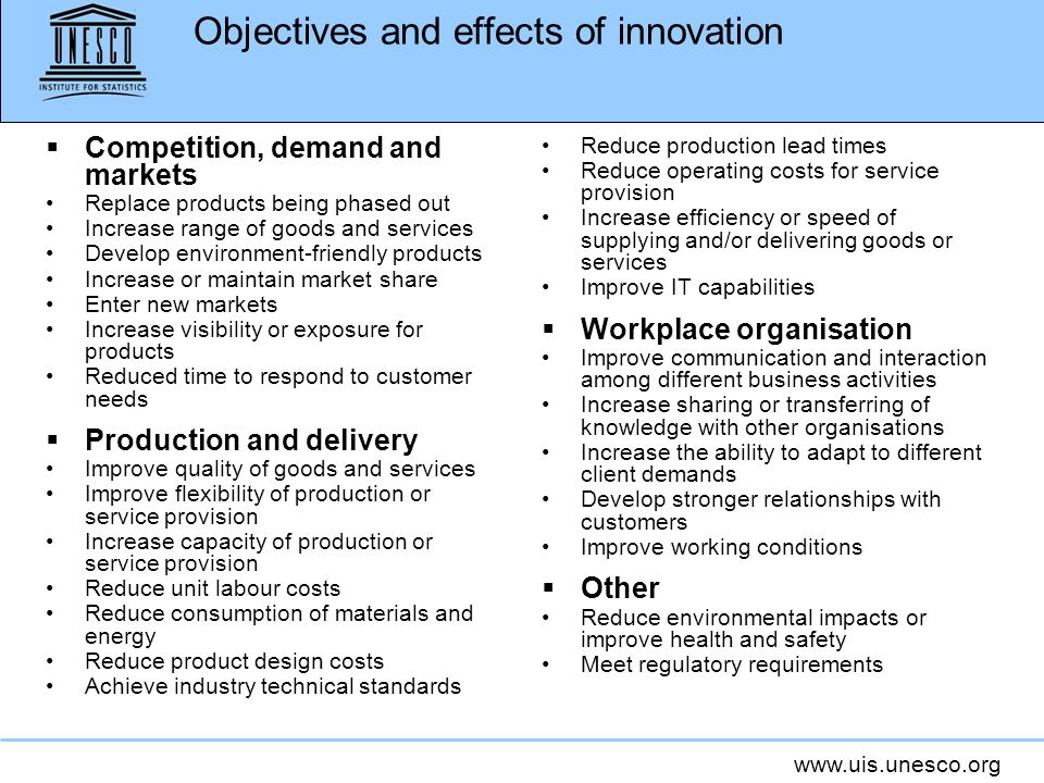 Objectives and effects of innovation
