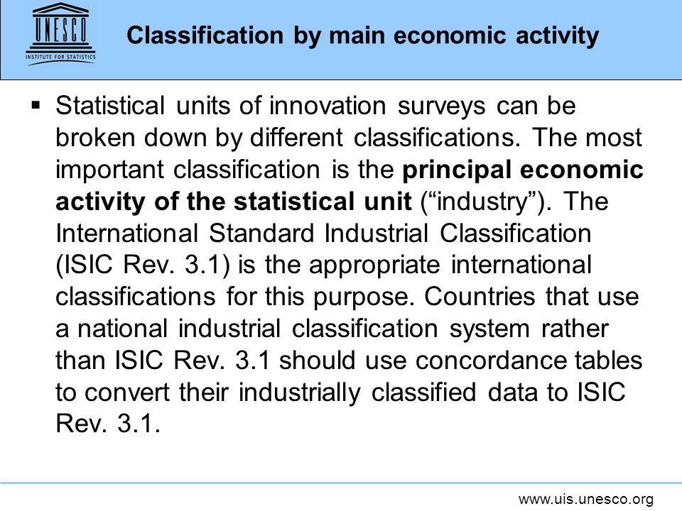 Classification by main economic activity