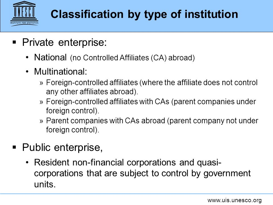 Classification by type of institution