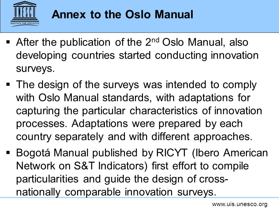 Annex to the Oslo Manual