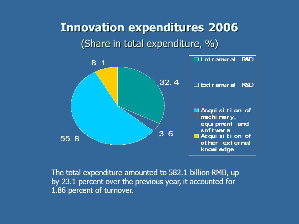 Innovation expenditures 2006 (Share in total expenditure, %)