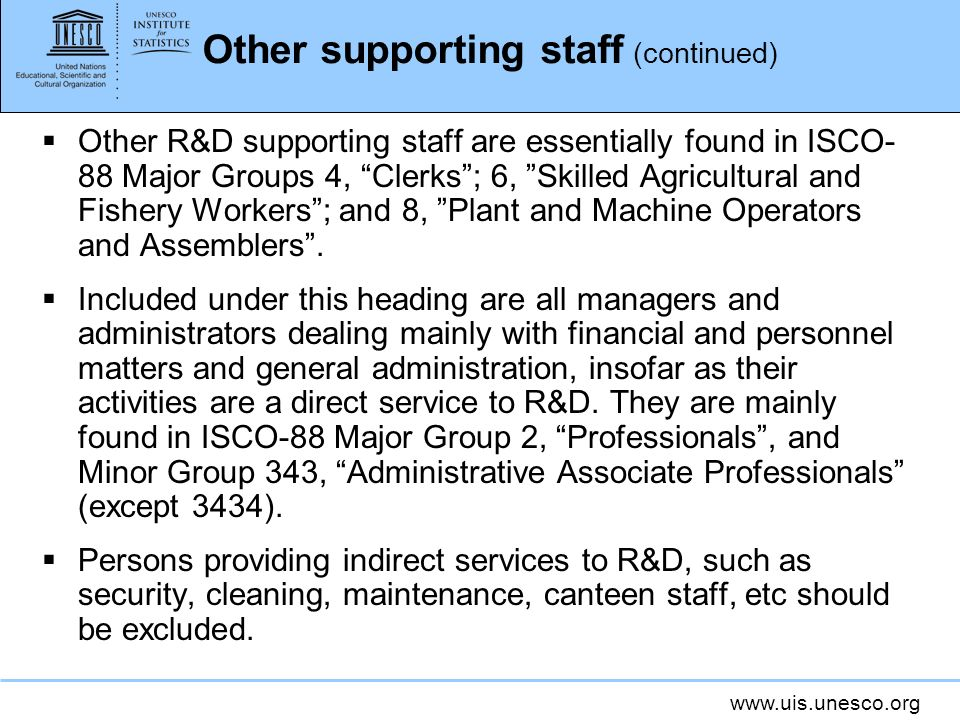 Other supporting staff (continued)
