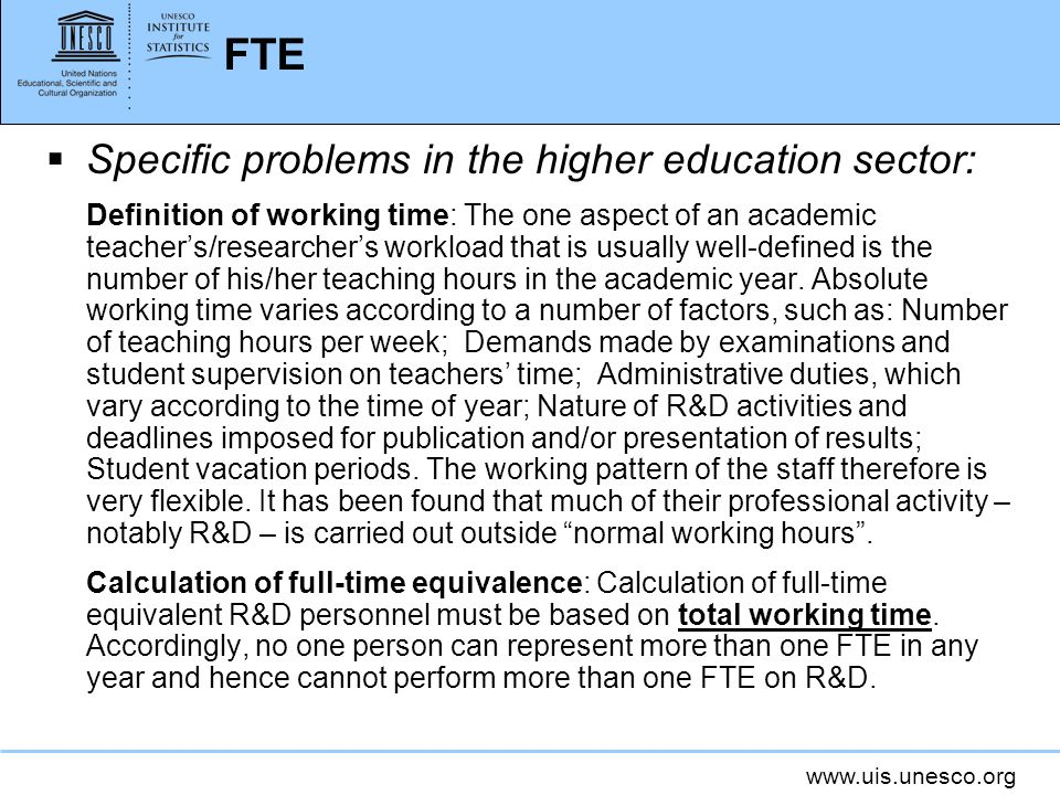 FTE Specific problems in the higher education sector: