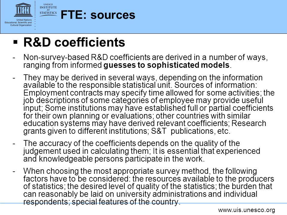 R&D coefficients FTE: sources