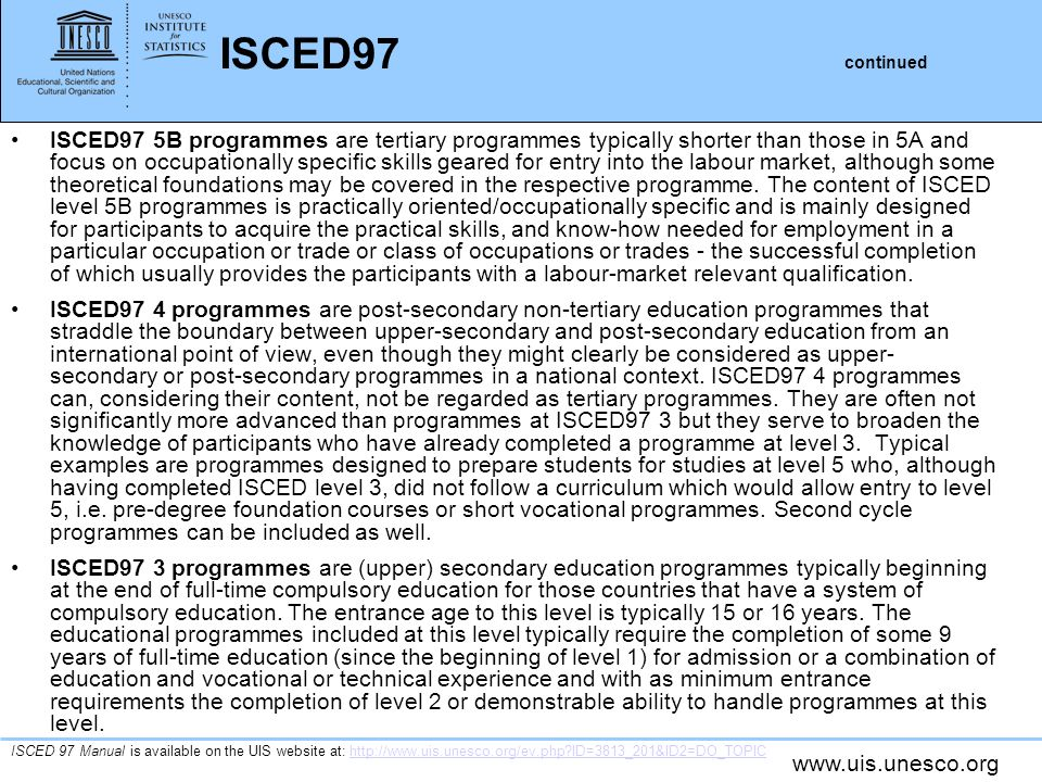 ISCED97 continued