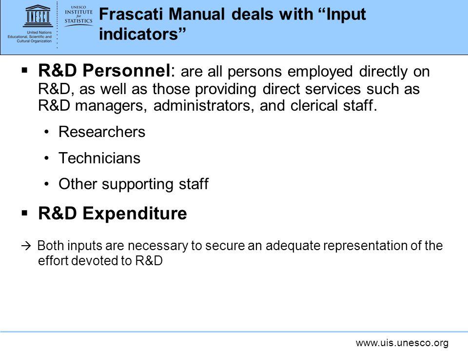 Frascati Manual deals with Input indicators