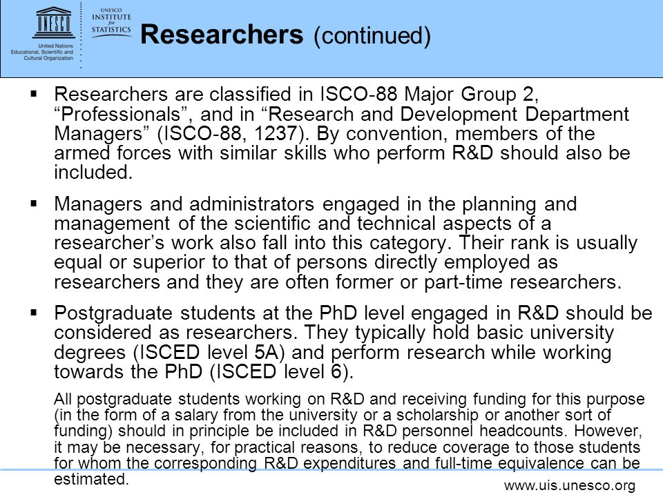 Researchers (continued)